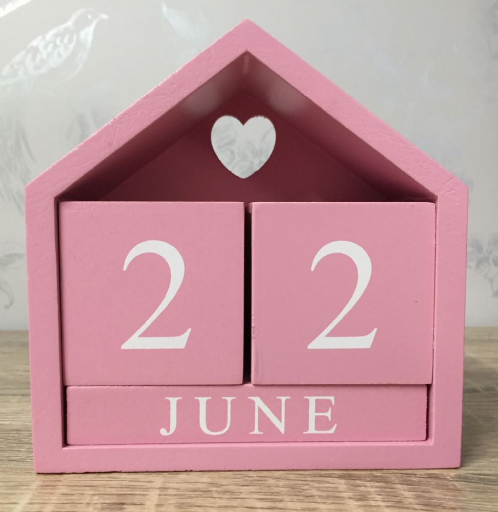 Pink House Perpetual Calendar with Cut Out Heart